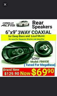 "SONY 6""x9"" 3 way Car Speakers 3 for Toyota Altis( 420watts )Coaxial Speaker. The most powerful speakers for your car without the need for separate Amp + Woofer. Model:FB693E. Usual Price: $ 129.90. Special Price: $69.90 ( Brand New In Box  & Sealed)"