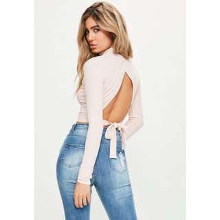 High Neck Ribbed Crop with Tie back