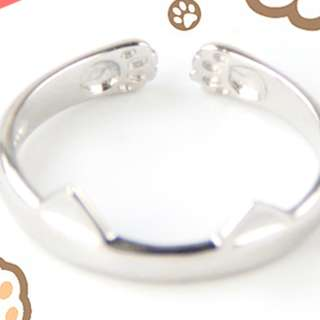 PO Cute Cat Paw & Cat Ear Adjustable Craft Ring Silver