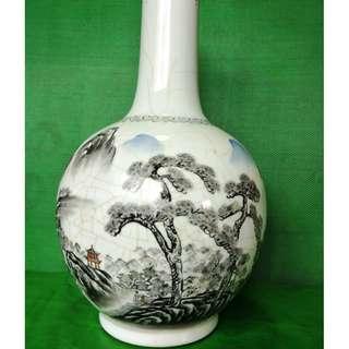 Old ink color landscape Vase, 旧墨彩山水天球瓶