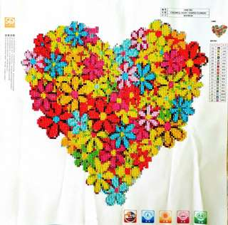 Colorful Heart Shaped Flowers (40x40 cm) (Canvas only)