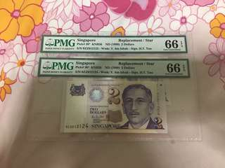 Fixed Price - Singapore Portrait Series $2 Paper Banknote 0ZZ Last/Replacement Prefix PMG 66 EPQ 2 Runs - $70 Each
