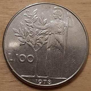 1978 Italy 100 Lira Coin