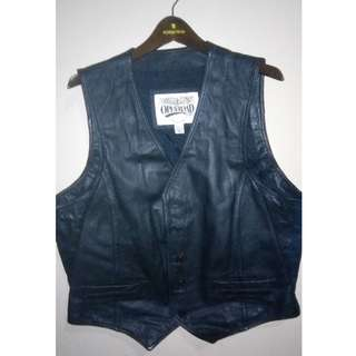 Open Road Black Motorcycle Leather Vest Made in Indonesia