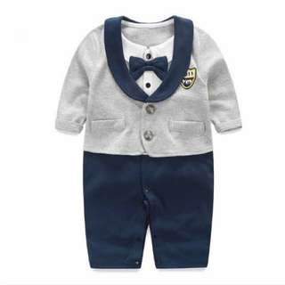 English Tuxedo Baby Romper