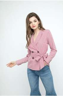 OSMOSE PINSTRIPED DOUBLE BREAST BUTTONED TOP