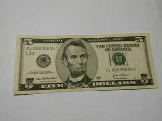 美金2003年5元 FL 02635635 C (靚號)