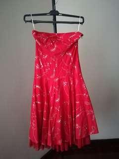 Red elegant ethnic tube short 3/4 flow dress gold