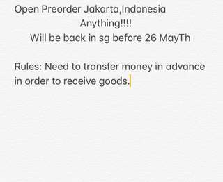 Preorder from Jakarta indonesia!!