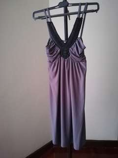 Elegant cute short black grey dress dinner party gown