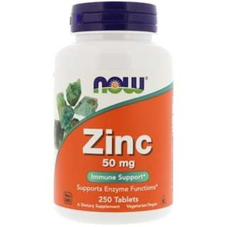 In Stock Now Foods, Zinc, 50 mg, 250 Tablets