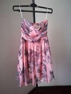 Floral sweet pink tube dress elegant cute dinner gown