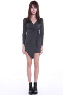 Carrislabelle Wrap Tie Dress (Dark Grey)
