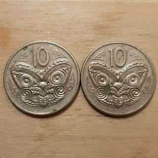 1980 New Zealand 10 Cents Coins