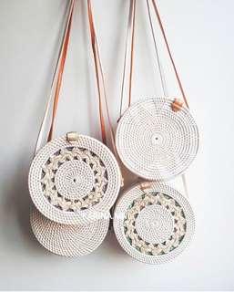 Bali round bags - whites!