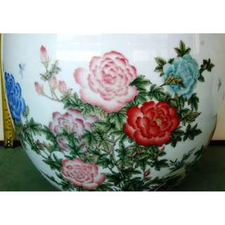 Hand painted Underglaze peony flower big vase,手绘釉下彩牡丹花大画缸