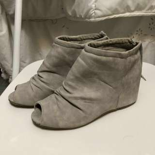 Grey suede peep toe booties size 7