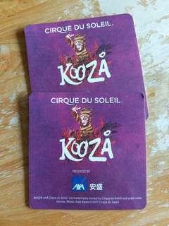 Kooza 太陽馬戲劇團香港表演纪念杯墊二個(包平郵)