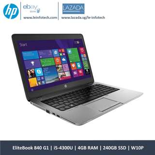 🚚 HP Elitebook 840 G1 ULTRABOOK 4'' Core i5-4300U@1.9Ghz 4th Gen 4GB RAM 240GB SSD Win 10 Pro Warranty Wifi Bluetooth One Month Warranty