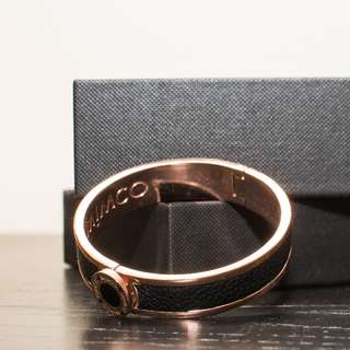 MIMCO | Hinged Rose Gold & Black Leather Narrow Hinged Cuff Bracelet