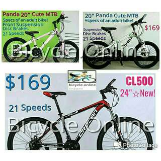 "Crolan Mountain Bikes from $169! ✩ 20"", 24"" & 26"" available ✩ Multi-Speeds, Disc Brakes, Suspension ✩ Brand New Bicycles"