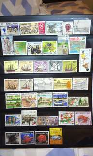 Singapore Stamps lot of 36 pieces ships retro