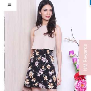 Neonmello Maville Cropped Tier Dress (Almond/Black Floral)