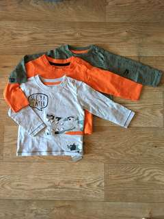 [readystock] Primark boys LS tshirts (3-pack) size 6-9months