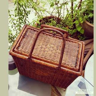 Rare 1950s Weave-Cane PICNIC Basket with Flip-Cover.  It has Box-like design for containing Thermoflask,Bread-box & etc.. Good, Clean & Strong Condition, no chip no crack. Detail/ Size as in the photos. $38, sms 96337309.