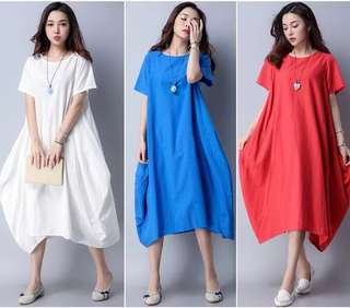 (M~2XL) 2018 Summer Style Fashion Loose Cotton and Linen Dress