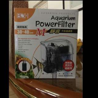 🚚 BOH-Aquarium power Filter M 外掛過濾器+過濾網. (靜音)