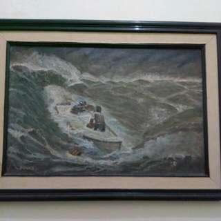 Lukisan kuno abad 18 menerjang ombak