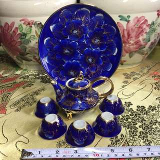 Beautiful Cobalt Blue Hand Painted Petite Tea Set