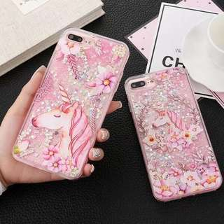 #14C Unicorn Quicksand Glitter PO  Phone Case Cover Clear
