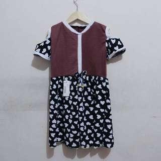 Dress sabrina anak 4-5th NO NEGO
