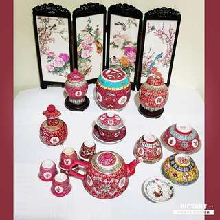 1950-70s Red-Colour Wan Shou Wu Jiang Chinese Porcelain Teaset, Tea Containers, Cups,Dishes, Covered Pot & Sauce Bottle. Good, Clean & Strong Condition, no chip no crack. Detail/ Size as in the 8 photos. Detail Below. $88 Offer! sms 96337309.