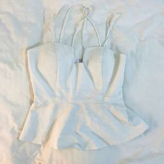 White strappy peplum top