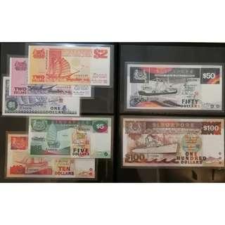 Singapore Ship Series Dollar Notes Set, $100, $50, $10, $5, $2, $2, $1