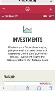 Whatever your future plans may be, give your wealth an extra boost. AIA Investment-Linked plans (ILPs) offer potential investment returns that helps you achieve your financial goals.