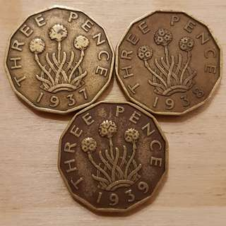 1937, 1938, 1939 Great Britain King George VI 3 Pence Coins