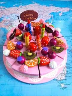 NEW~ 🎂 Wooden Decoration Cake Set 🎂 木製水果蛋糕裝飾套裝 兒童玩具/ kids toy