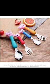 Peppa pig fork and spoon