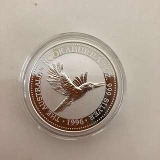 1996 kookaburra 1 oz silver coin