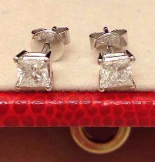 六福珠寶 公主方天然鑽石耳環一對72份(0.72 ct) 新淨 靚石