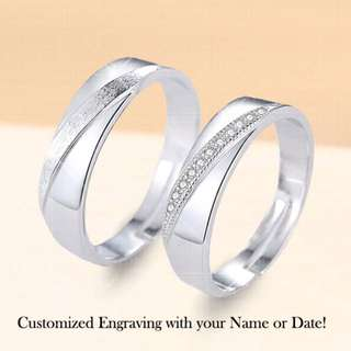 CPR-009 • Couple💖S925 Silver Eternity Wedding Band Rings • FREE SIZE ADJUSTABLE •