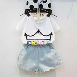 💥整套價290元💥全新💥韓版上衣+珍珠花邊短褲