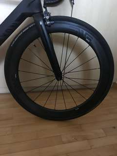 Carbon wheelset with ENVE sticker