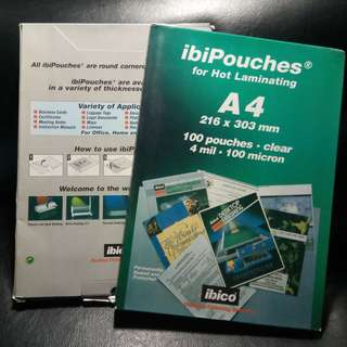 Branded ibiPouches A4 size Lamination Pouches. Brand new, never used