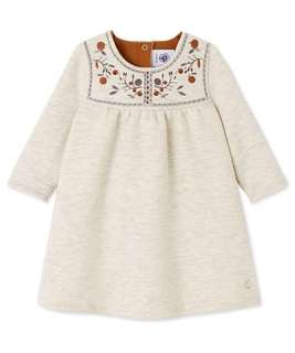 Petit Bateau Fleece Embroidered Baby Girl Dress Size 18m