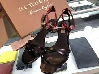 Burberry 蘇格蘭格紋拼接小牛皮粗跟小涼鞋
